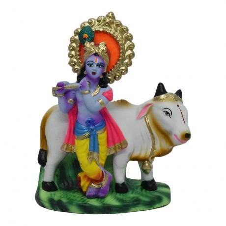 "Krishna with Cow - 7.5"""