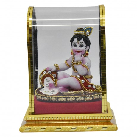 """Krishna With Butter Pot small (Glass) - 6.5"""""""